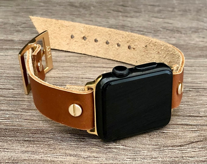 Bronze Leather Apple Watch Band 38mm 40mm 42mm 44mm iWatch Bracelet Series 5 4 3 2 1 Adjustable Size Gold iWatch Band Cuff Wristband
