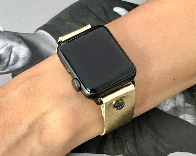 Apple Watch Band 38mm 40mm 42mm 44mm Gold Leather iWatch Bracelet Women Apple Watch Strap Adjustable iWatch Wristband Apple Watch Cuff Band