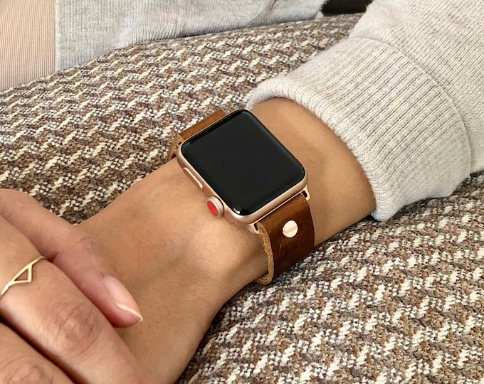 Cognac Leather & Rose Gold Apple Watch Band 38mm 40mm 42mm 44mm iWatch Bracelet Adjustable Grain Leather Wristband Rose Gold Watch Strap