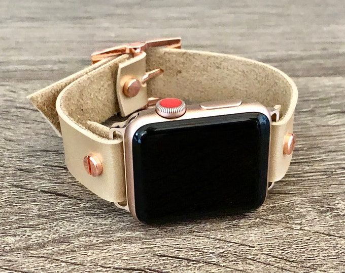 Vegan Leather Apple Watch Band 38mm 40mm 42mm 44mm Eco-Friendly iWatch Bracelet Adjustable Size Latte Color Wristband Rose Gold Watch Band