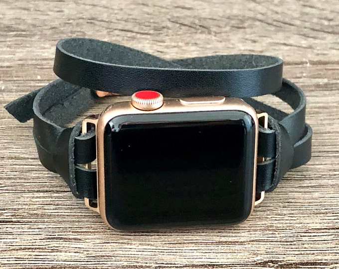 Apple Watch Leather Band 38mm 40mm 42mm 44mm iWatch Bracelet Black Leather Apple Watch Strap Rose Gold Apple Watch Wristband Series 4, 5