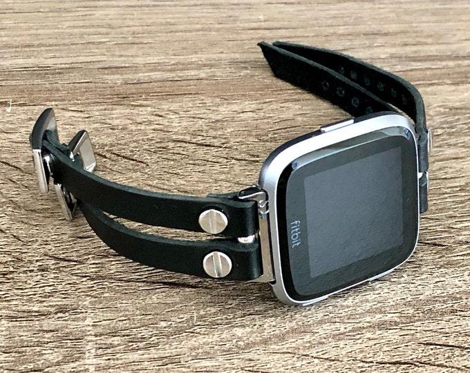 Fitbit Versa 2 Band Silver Fitbit Versa Watch Cuff Bracelet Fitbit Versa Lite Wristband Double Black Leather Straps Activity Watch Band