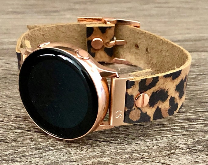 Rose Gold & Leopard Print Leather Samsung Galaxy Watch Active2 40mm - 44mm Band Galaxy Active Watch Strap Galaxy Watch 42mm Wristband
