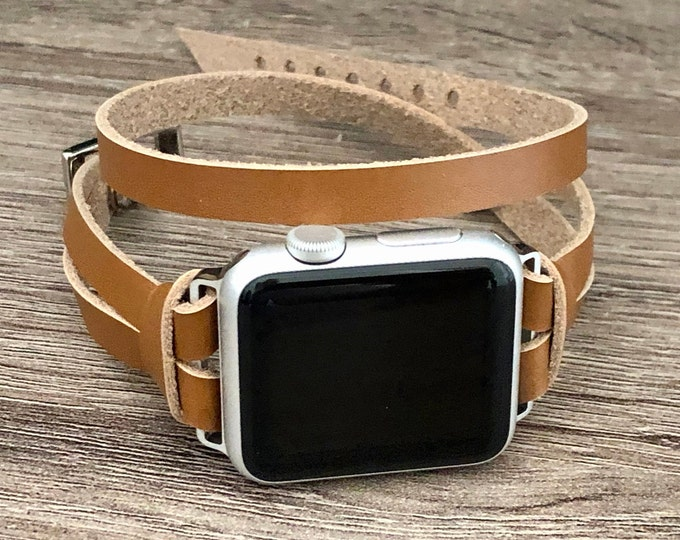 Apple Watch Band 38mm 40mm 42mm 44mm Women Apple Watch Bracelet Strap iWatch Band Silver & Light Brown Leather Apple Watch Wristband