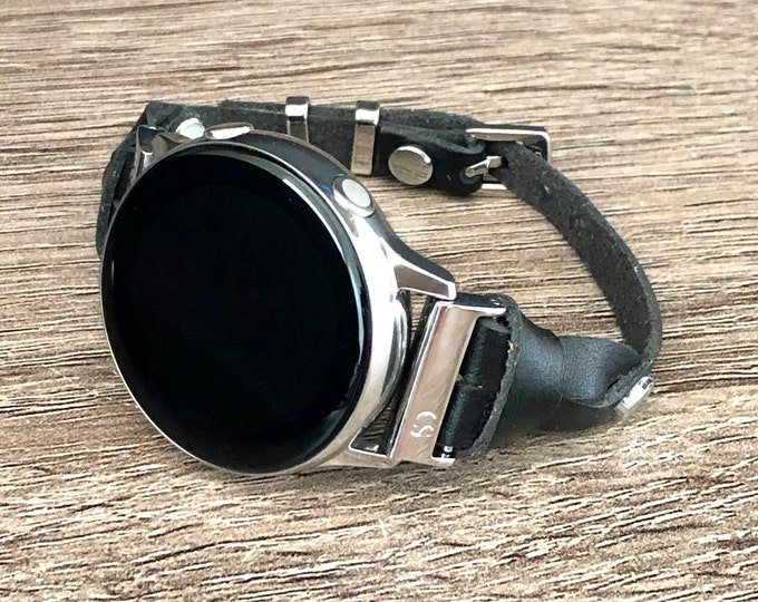 Samsung Galaxy Watch 42mm  Active Band Black Leather & Silver Galaxy Watch Band Silver Galaxy Watch Bracelet, Slim Leather Watch Strap