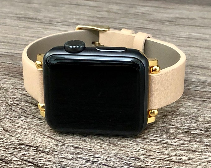 Beige Leather & Gold Apple Watch Band 38mm 40mm 42mm 44mm Slim Vegan Leather Apple Watch Band Adjustable Soft Leather Wristband iWatch Strap