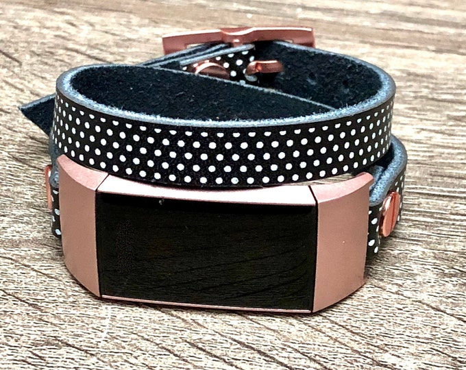 Leather Fitbit Charge 3 Band, Polka Fitbit Charge 3 Strap Bracelet, Women Fitbit Charge 3 Rose Gold Band, Fitbit Leather Band Jewelry Strap