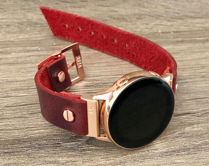 Red Leather Rose Gold Samsung Galaxy Active Band, Pink Gold Galaxy Watch Active2 Bracelet 40mm 44mm, Rose Gold Watch Band Cuff Wristband