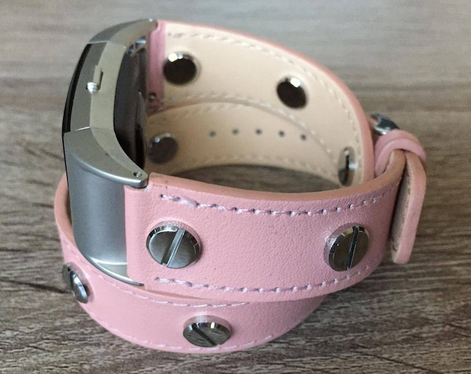 Elegant Pink Double Wrapped Eco Friendly Leather Bracelet For Fitbit Charge 2 Silver Rivets Handmade Replacement Fitbit Band Mother's Day