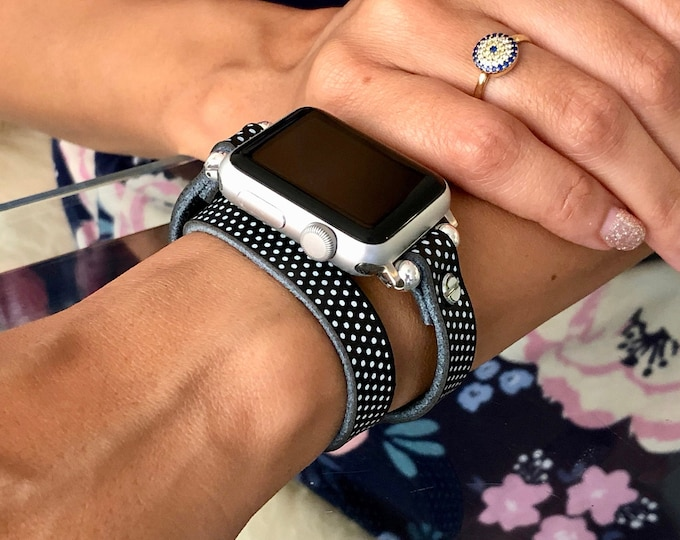Polka Leather Apple Watch Band 38mm 40mm 42mm 44mm Women Style Double Wrap iWatch Band Apple Watch Strap Adjustable Apple Watch Bracelet