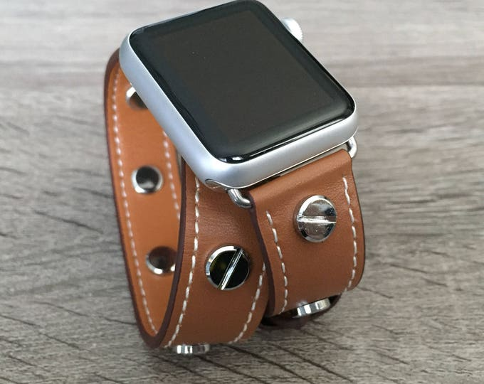 Brown Leather Band for Apple Watch All Series Vegan Handmade Double Wrap Band Silver Rivets Wristband Fashion Multi Wrap Apple Watch Band