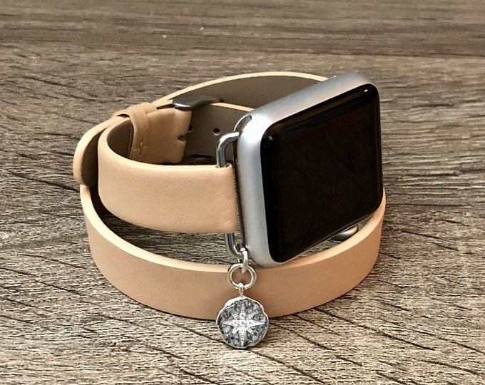 Luxury Tan Vegan Leather Band for Apple Watch All Series Handmade Double Wrap Silver CZ North Star Charm Slim Apple Watch Jewelry Bracelet