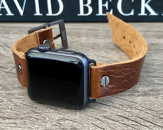 Brown Leather Apple Watch Band Adjustable Strap Wristband 38mm 40mm 42mm 44mm iWatch Bracelet High Quality Grain Leather Classic Watch Strap