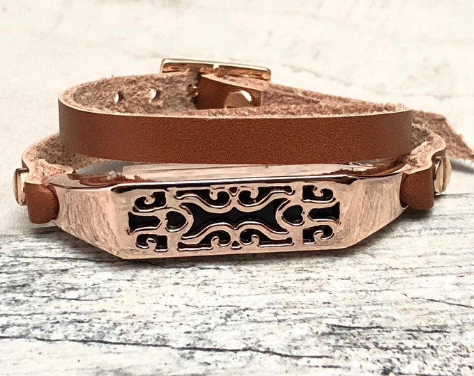 Rose Gold & Light Brown Leather Fitbit Flex 2 Band Women Slim Fitbit Flex 2 Strap Leather Band  Elegant Double Wrap Fitbit Flex 2 Women Band