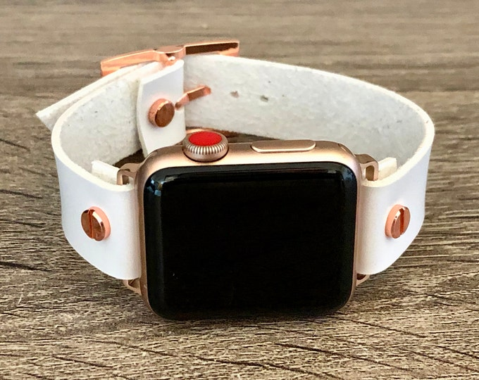 White Vegan Leather Apple Watch Band 38mm 40mm 42mm 44mm iWatch Eco-Friendly Bracelet Adjustable Size Wristband Rose Gold Watch Band