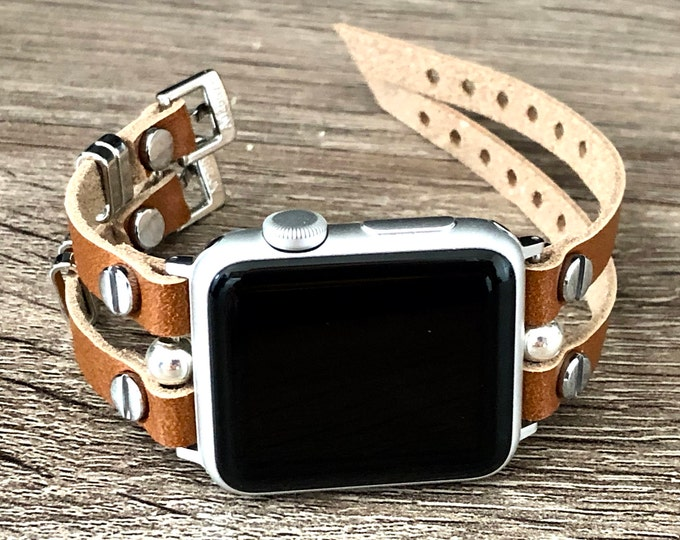 Apple Watch Band 38mm 40mm 42mm 44mm Women Style Apple Watch Strap Leather Band Bronze Leather & Silver Apple Watch Bracelet Jewelry Strap