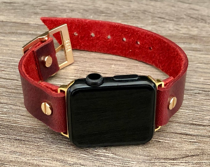 Gold Apple Watch Band 38mm 40mm 42mm 44mm Red Leather iWatch Bracelet Series 5 4 3 2 1 Adjustable Wristband Gold Watch Band Cuff Wristband