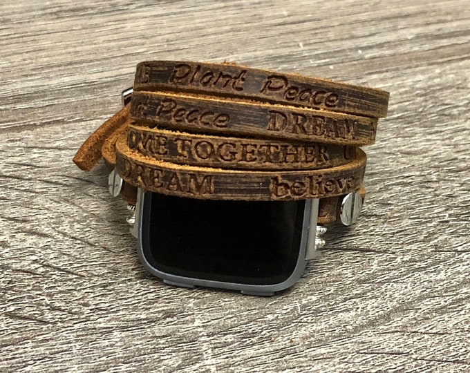 Leather Fitbit Versa Band Women Handmade Fitbit Versa Bracelet Multi Tour Adjustable Fitbit Versa Strap Fitbit Band Brown Fitbit Bracelet