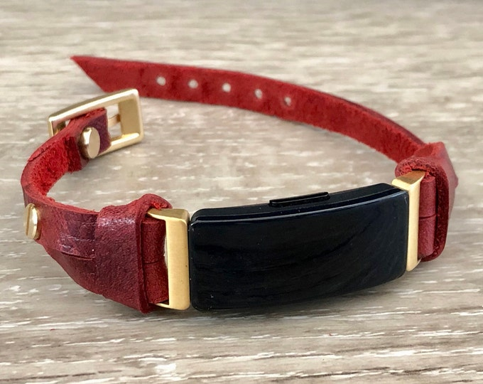 Red Leather Fitbit Inspire HR Band Gold Fitbit Inspire HR Bracelet Jewelry Fitbit Inspire Wristband Adjustable Fitbit Inspire Leather Strap
