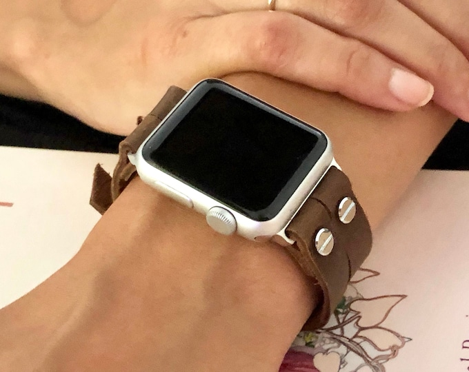 Brown Leather Apple Watch Band 38mm 40mm 42mm 44mm iWatch Bracelet Silver Rustic Vintage Leather Strap Apple Watch Bracelet iWatch Band