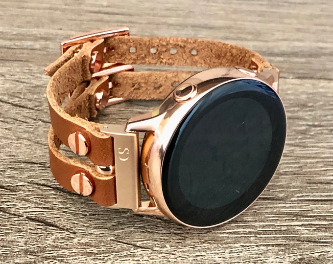 Galaxy Watch Active2 Band 40mm 44mm Light Brown Leather Samsung Galaxy Watch 42mm Bracelet Rose Gold Galaxy Active Strap Women Galaxy Bands