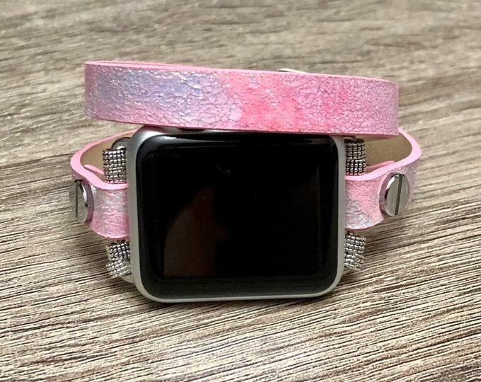 Hot Pink Leather Apple Watch Band 38mm Women Handmade Double Wrap Pink Apple Watch Bracelet 42mm Adjustable Vegan Apple Watch Jewelry Band