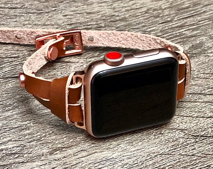 Leather Apple Watch Bracelet, 38mm, 40mm, 42mm, 44mm, Strap Band Pink Rose Gold Apple Watch Band, Women iWatch Strap, Apple Watch Jewelry,