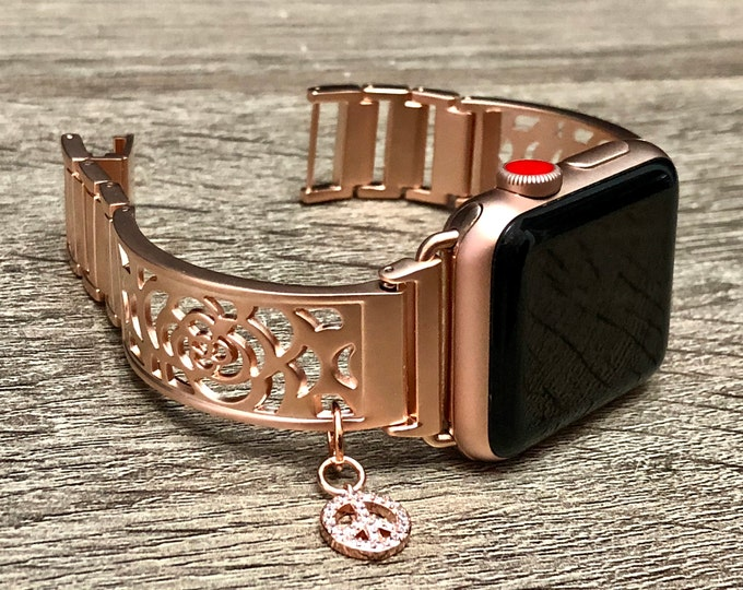 Rose Gold Apple Watch 38mm Women Band Rose Gold Adjustable Apple Watch Bracelet 42mm Band Rose Gold Peace Medallion Apple Watch Jewelry