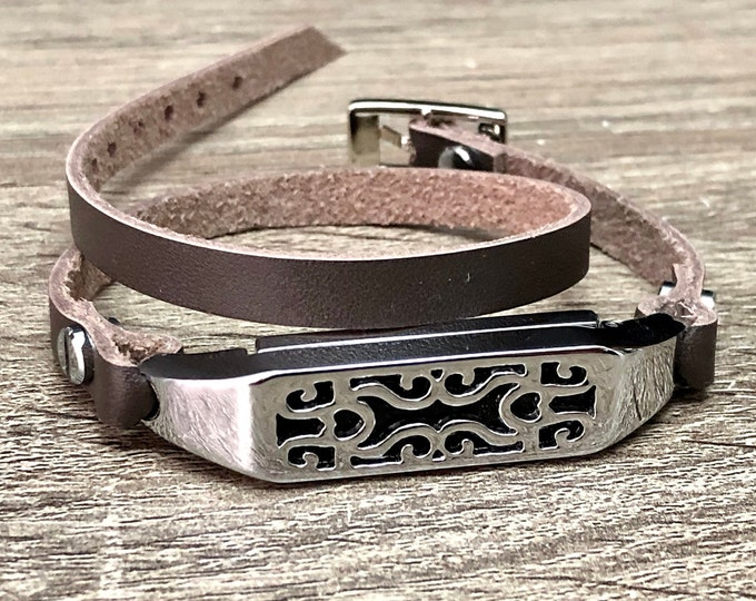 Fashion Chocolate Leather Fitbit Flex 2 Band Strap Double Wrapped Silver Fitbit Flex 2 Bracelet Jewelry Adjustable Fitbit Flex 2 Jewelry