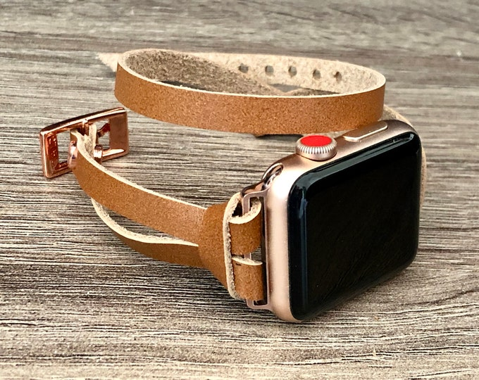 Apple Watch Band 38mm 40mm 42mm 44mm iWatch Bracelet Rose Gold Series 5 4 3 2 1 Adjustable Size Leather Strap