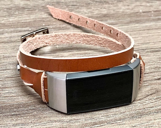 Fitbit CHARGE 3 Strap Band Double Tour Fitbit Charge 3 Bracelet Slim Bronze Genuine Leather Fitbit Jewelry Silver Fitbit Charge 3 Band