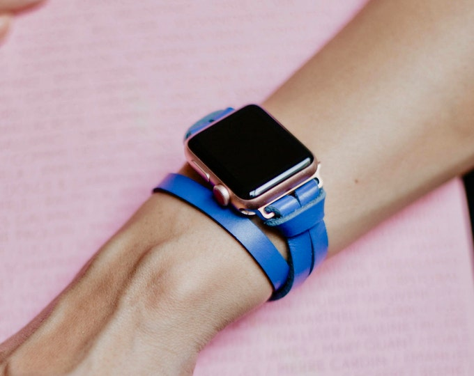 Rose Gold Apple Watch Band 38mm 40mm 42mm 44mm Woman iWatch Strap Bracelet Blue Leather Apple Watch Bracelet iWatch Wristband Watch Strap