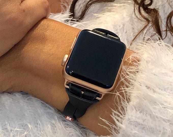 Black Leather Rose Gold iWatch Band iWatch Bracelet iWatch Strap Apple Watch Bracelet Women Watch Strap Band 38mm 40mm 42mm 44mm