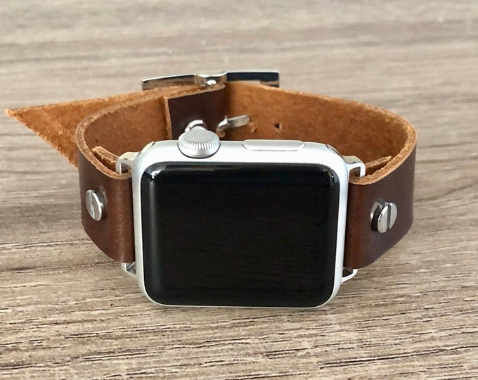 Silver Apple Watch Band 38mm 40mm 42mm 44mm iWatch Bracelet Series 5 4 3 2 1 Chocolate Brown Leather Adjustable Wristband Silver Watch Band