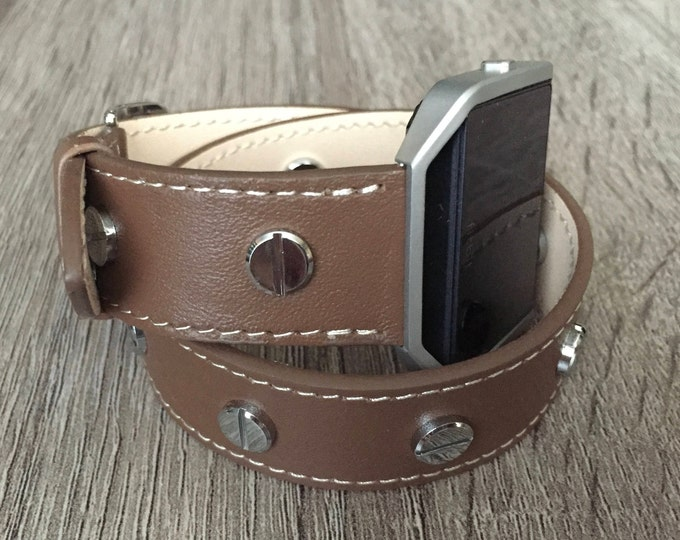 Brown Vegan Leather Bracelet for Fitbit Blaze Fitness Watch Handmade Double Wrap Wristband with Silver Frame & Rivets Adjustable Size Band