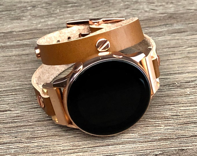Rose Gold Galaxy Watch 42mm Leather Bracelet Double Wrapped Galaxy Watch Active 40mm Band Samsung Galaxy Watch Active2 40mm 44mm Wristband
