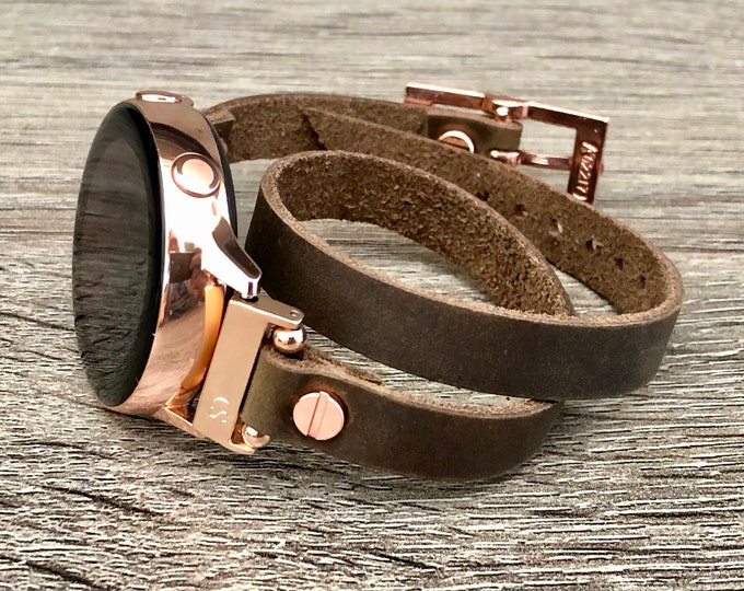 Brown Leather Galaxy Active 2 Band 40mm 44mm Pink Gold Watch Galaxy Watch 42mm Slim Bracelet Rose Gold Samsung Galaxy Watch Active Wristband