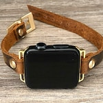 Apple Watch 38mm 40mm 42mm 44mm Band Vintage Leather & Yellow Gold Apple Watch Bracelet  Rustic Brown Leather Strap Gold iWatch Wristband