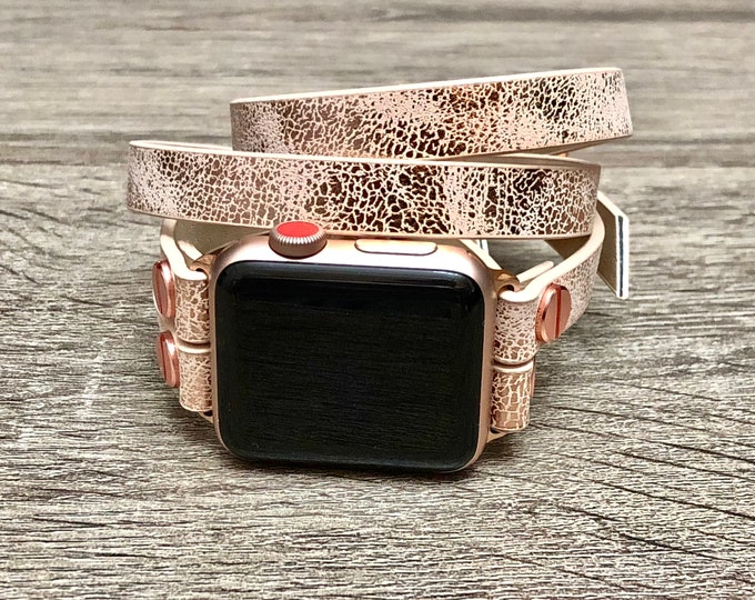 Apple Watch Band Women Rose Pink Apple Watch Bracelet Wrap Sparkly Apple Watch 4 Bracelet 38mm 40mm 42mm 44mm Double Wrap Leather Watch Band