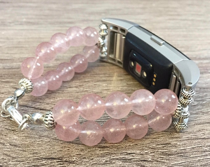 Handmade Natural Light Pink Jade Stone Bracelet for Fitbit Charge 2 Fitness Tracker Silver Fitbit Charge 2 Band Fashion Jewelry Bracelet