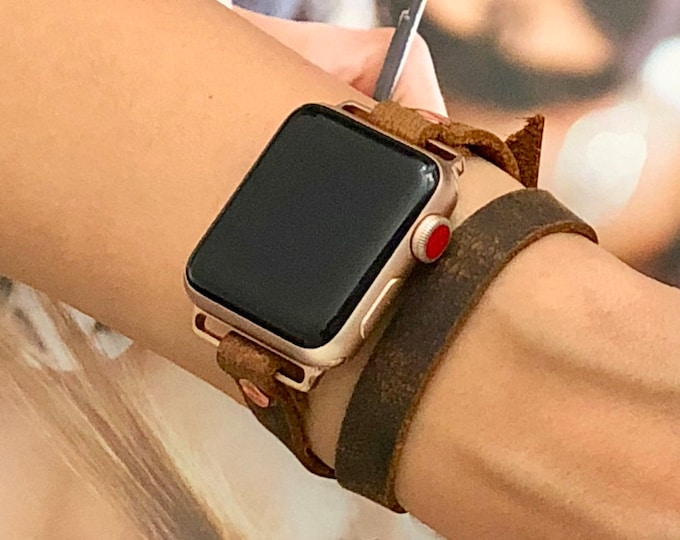Apple Watch Band, 38mm 40mm 42mm 44mm, Women Apple Watch Bracelet, Rose Gold Apple Watch Wristband, Vintage Leather Strap, Rustic Strapband