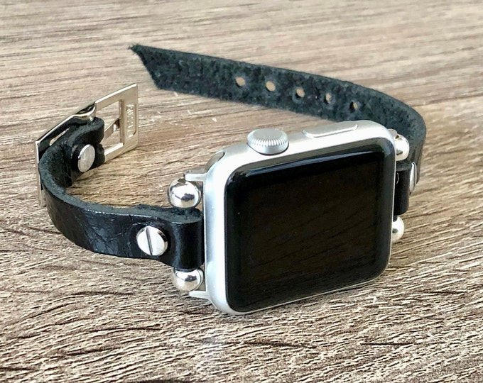 Silver & Black Leather Apple Watch Bracelet 38mm 40mm 42mm 44mm Apple Watch Wristband Soft Grain Leather iWatch Bracelet Father's Day Gift