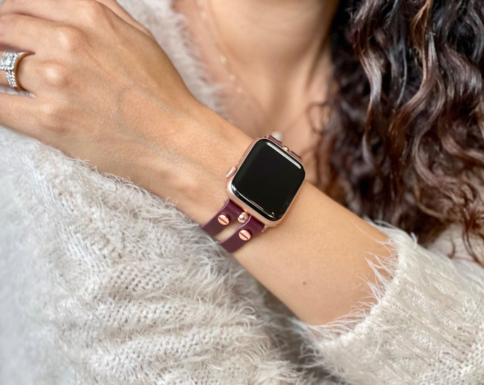 Apple Watch Band 38mm 40mm 42mm 44mm Leather Cuff Wristband Italian Leather Apple Watch Strap iWatch Bracelet Rose Gold Woman iWatch Band
