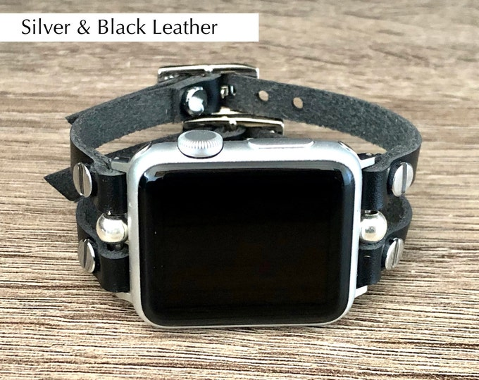 Apple Watch Band 38mm 40mm 42mm 44mm Black Genuine Leather Straps & Silver Apple Watch Bracelet Women iWatch Band Apple Watch Jewelry Band