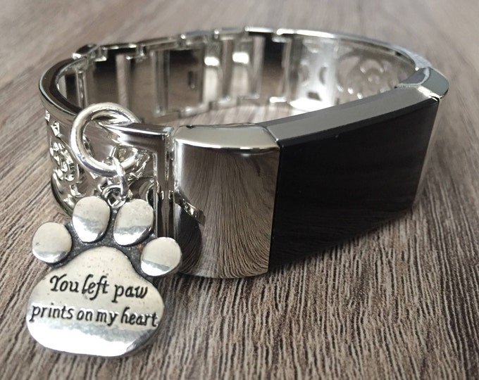 Silver Metal Band for Fitbit Charge 2 Tracker Dog Paw Print Charm Adjustable Size Fitbit Charge 2 Band Shiny Silver Fitbit Charge 2 Bangle