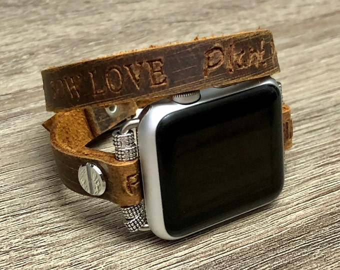 Apple Watch Band 38mm 40mm 42mm 44mm Double Wrap Leather Embossed Inspirational Quotes Apple Watch Strap, Apple Watch Bracelet, iWatch Band