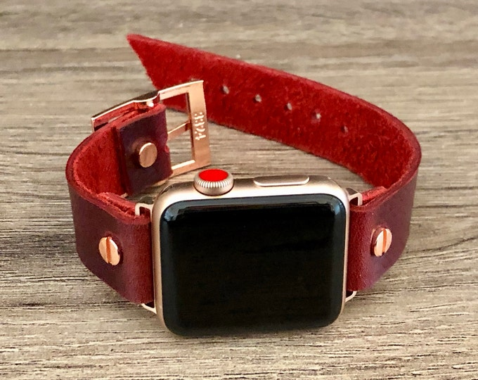 Rose Gold Apple Watch Band 38mm 40mm 42mm 44mm iWatch Bracelet Series 5 4 3 2 1 Adjustable Red Leather Cuff Wristband Rose Gold Watch Band