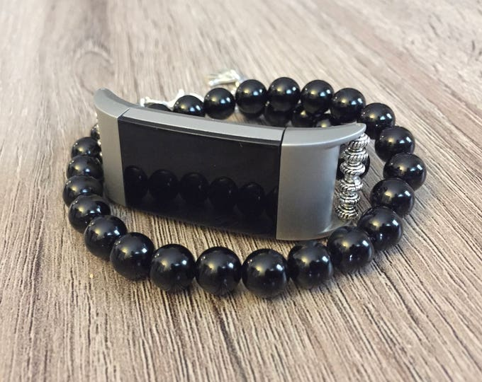 Black Onyx Handmade Bracelet for Fitbit Charge 2 Activity Tracker Silver Double Wrap Fitbit Charge 2 Band Protective Stimulating Bracelet
