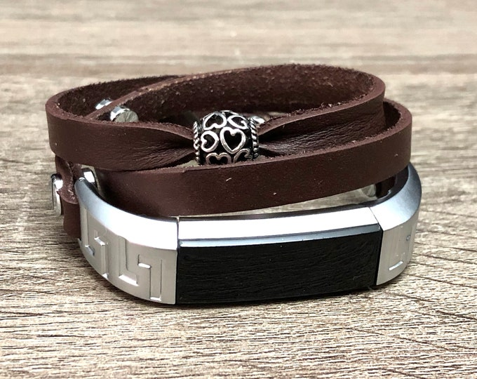 Genuine Leather Bracelet for Fitbit Alta HR Tracker Handmade Brown Multi Wrap Adjustable Fitbit Alta Band Silver Hearts Jewelry Ornament