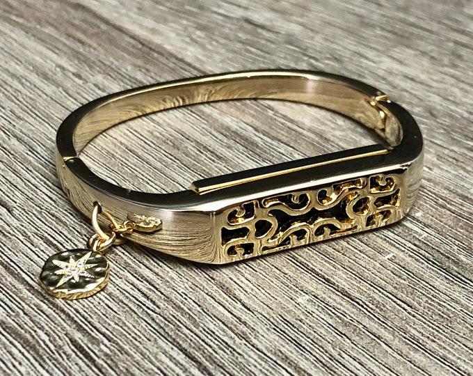 FITBIT FLEX 2 Band Women Gold Fitbit Flex 2 Bangle, CZ North Star Charm, Women Fitbit Flex 2 Bracelet, Gold Fitbit Flex 2 Jewelry Bangle